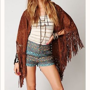 Free People Age of Fringe Suede Shawl Scar…